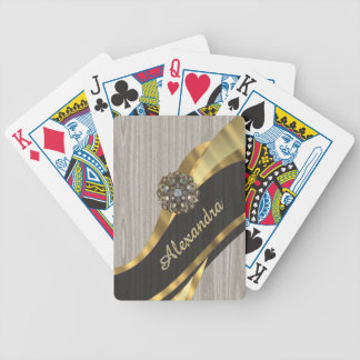 Personalized pretty modern faux wood grain bicycle playing cards