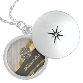 Personalized pretty modern faux wood grain round locket necklace