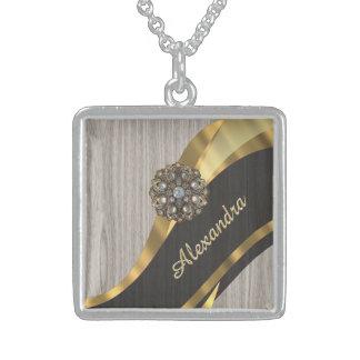 Personalized pretty modern faux wood grain square pendant necklace