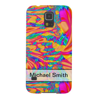 Personalized pretty orange pink turquoise abstract galaxy s5 case