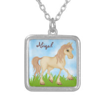 Personalized Pretty Palomino Pony Cream Horse Silver Plated Necklace