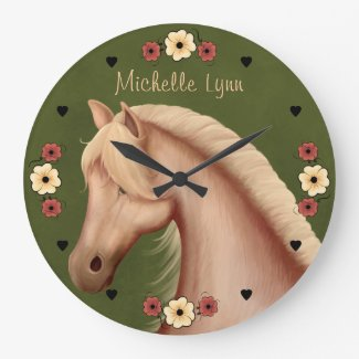 Palomino Pony n Flowers Horse Large Clock