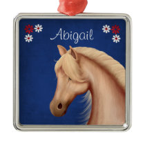 Personalized Pretty Palomino Pony n Flowers Horse Metal Ornament