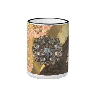 Personalized pretty peach girly damask pattern ringer coffee mug