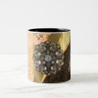 Personalized pretty peach girly damask pattern Two-Tone coffee mug