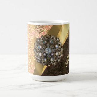 Personalized pretty peach girly damask pattern classic white coffee mug