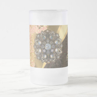Personalized pretty peach girly damask pattern 16 oz frosted glass beer mug