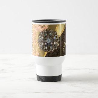 Personalized pretty peach girly damask pattern 15 oz stainless steel travel mug