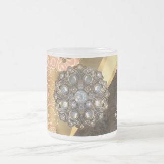 Personalized pretty peach girly damask pattern 10 oz frosted glass coffee mug