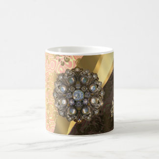 Personalized pretty peach girly damask pattern 11 oz magic heat Color-Changing coffee mug