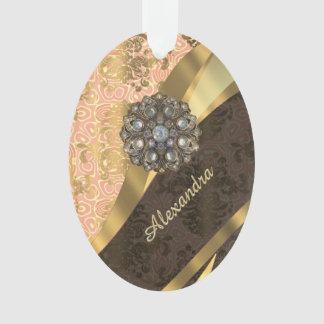 Personalized pretty peach girly damask pattern ornament