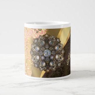 Personalized pretty peach girly damask pattern 20 oz large ceramic coffee mug