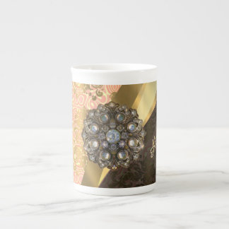 Personalized pretty peach girly damask pattern tea cup