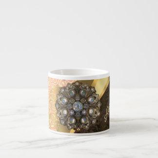 Personalized pretty peach girly damask pattern 6 oz ceramic espresso cup