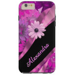 Personalized pretty pink floral pattern tough iPhone 6 plus case