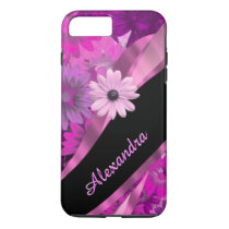 Personalized pretty pink floral pattern iPhone 7 plus case