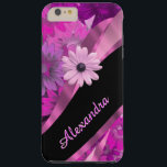 """Personalized pretty pink floral pattern tough iPhone 6 plus case<br><div class=""""desc"""">Personalize this pretty chic and elegant girly pink magenta floral pattern design, and black and pastel pink swirl ribbon pattern graphic with her name or monogram initials to the customizable text templates to create a special unique stylish case to protect your device. This stylish elegant sophisticated floral daisy flower graphic...</div>"""