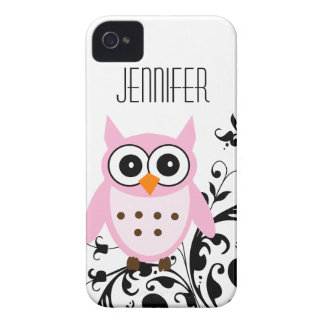 Personalized Pretty Pink Owl iPhone 4 Case