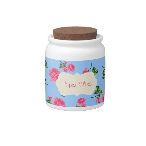 Personalized Pretty pink roses - floral blue jar Candy Dish