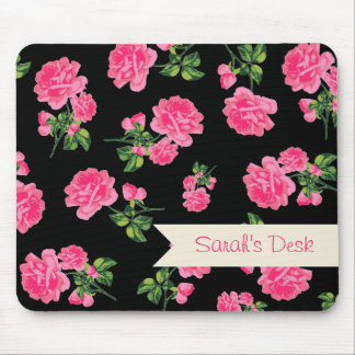 Personalized pretty pink roses / flowers on black mouse pad
