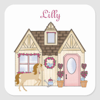 Personalized Pretty Ponies House Horse Sticker