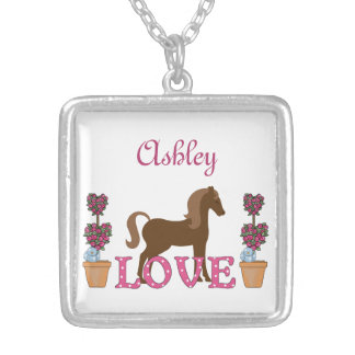 Personalized Pretty Ponies Love Horse Necklace