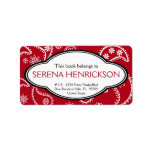 Personalized Pretty Red Paisley Print Bookplate Address Label