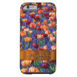 Personalized pretty tulip flower field tough iPhone 6 case