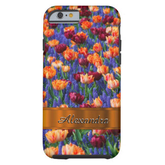 Personalized pretty tulip flower field tough iPhone 6 case
