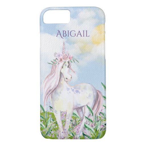 Personalized Pretty Unicorn in Field of Flowers iPhone 8/7 Case