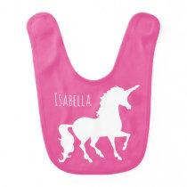 Personalized Pretty Unicorn Silhouette Pink Baby Baby Bib