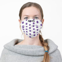 Personalized Pretty White and Purple Polka Dot Cloth Face Mask