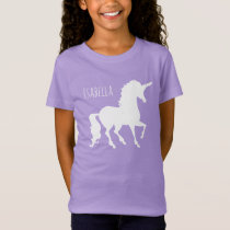 Personalized Pretty White Unicorn Silhouette Girls T-Shirt
