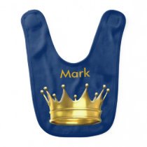 Personalized Prince Crown Baby Bib