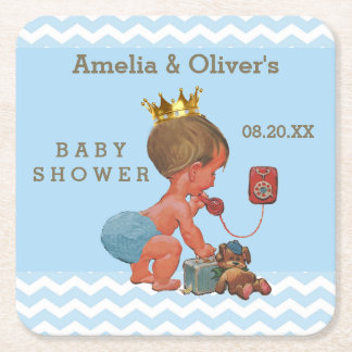 Personalized Prince on Phone Baby Shower Chevrons Square Paper Coaster