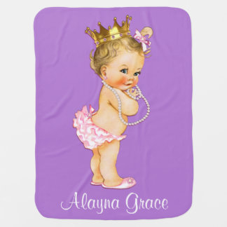Personalized Princess Baby Double Sided Swaddle Blanket
