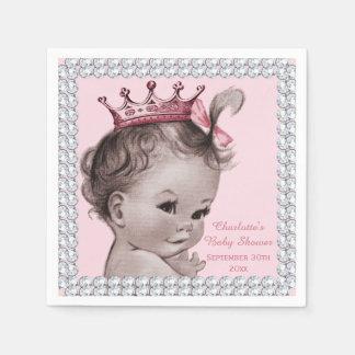 Personalized Princess Baby Shower Faux Diamonds Napkin