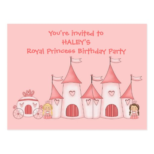 Personalized Princess birthday party invitations Postcards