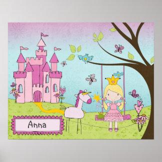 Personalized Princess Castle Art Print