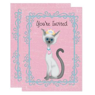 Personalized Princess Cat Pink Birthday Invitation