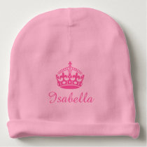 Personalized princess crown girls baby beanie hat