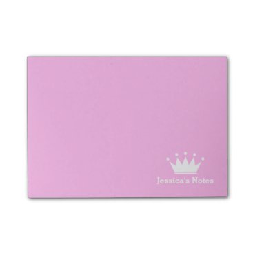Beach Themed Personalized princess crown pink Post-it® notes