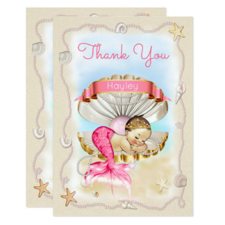 Personalized Princess Mermaid Clam Shell Thank You Card