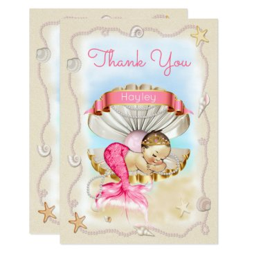 Beach Themed Personalized Princess Mermaid Clam Shell Thank You Card