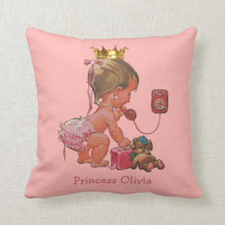 Personalized Princess on Phone with Teddy Bear Throw Pillow