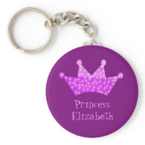 Personalized Princess pink and purple tiara Keychain