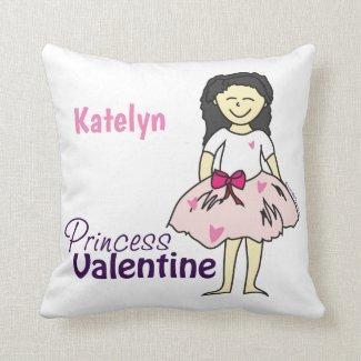 Personalized Princess Valentine Throw Pillow