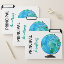 Personalized Principal Watercolor World Globe File Folder