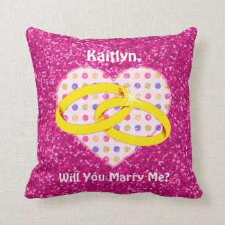 Personalized Proposal Marry Me Pink Glitter Heart Pillow