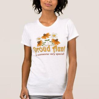 Personalized Proud Aunt Orange Flowers Tshirt
